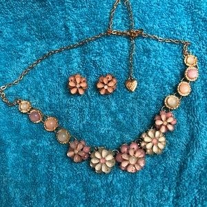 Beautiful Betsy Johnson lucite necklace & earrings